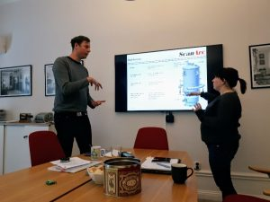 Daniel and Maria explaining about ScanArc's PyroArc technology
