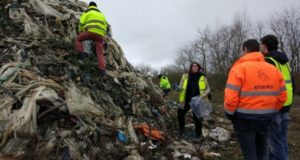 Taking samples from the landfill