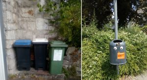 Fig. 2: Waste bins used in Germany: (l) household waste, (r) municipal bins on the streets.