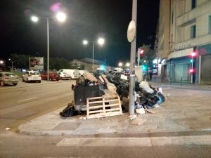Fig. 1: Municipal solid waste accumulated on the pavement after 5 days of striking waste collector workers. Ajaccio, Corsica in May 2018 (France).