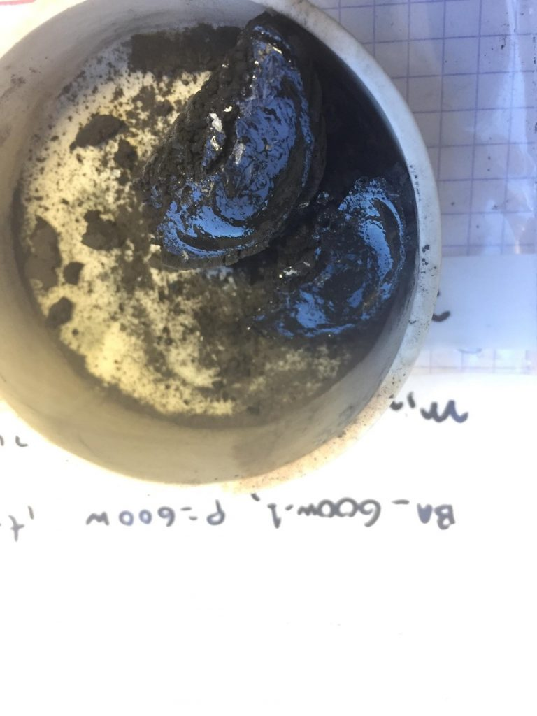 Figure 2: Glassy bottom ash produced by microwave thermal treatment.