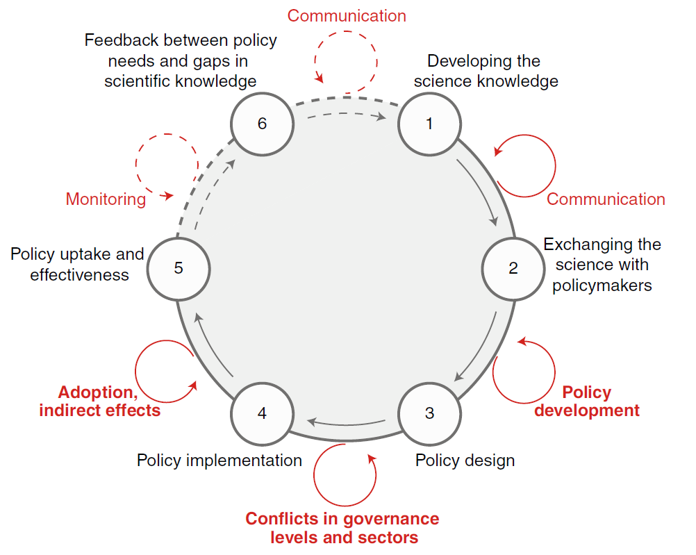 Figure 1. The science-policy exchange cycle and associated time lags.